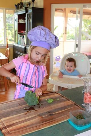 SOUS chef cuts the broccoli