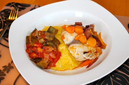 Maui Mango Mahi-Mahi with Polenta and Mixed Veggies